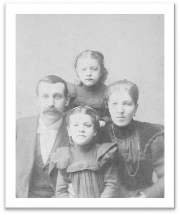Rev. Chamberlin, Wife, and  Children Minnie and Carrie 1895-1898